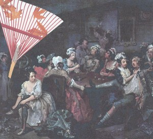 """Rake"" - short for rakeheu in tavern scene from Hogarth's ""A Rake's Progress"""