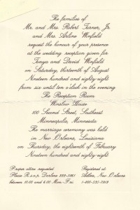 Dave Winfield wedding invite