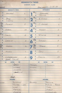 Twins line - up card